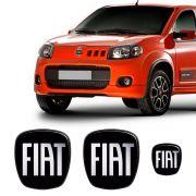 Kit 3 Adesivos Emblema Fiat Novo Uno Preto Black