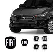 Kit 6 Adesivos Fiat Cronos Preto Black Piano