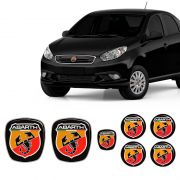 Kit 7 Adesivos Emblemas Abarth Fiat Grand Siena