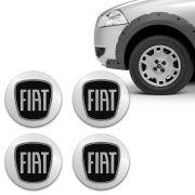 Kit Adesivo De Calota Emblema Fiat Black Piano Resinado 51mm