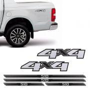 Kit Adesivos 4x4 S10 2013/2019 Escovado + Soleira Protetora
