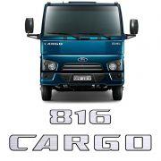 Kit Adesivos Cargo 816 2014 Emblemas Capô Escovado Resinado