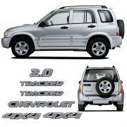 Kit Adesivos Chevrolet Tracker 06/09 2.0 4x4 Prata Resinado
