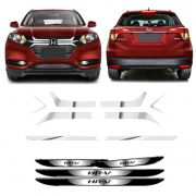 Kit Adesivos Grade Hr-v + Soleira Com Black Over + Friso