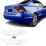 Kit Adesivos Honda New Civic I-vtec Dohc Prata Si Vermelho