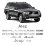 Kit Adesivos Jeep Grand Cherokee V8 96/99 Emblema Cromado