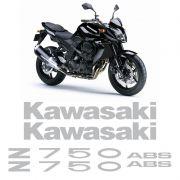 Kit Adesivos Kawasaki Z750 2010 Abs Emblemas Prata Completo