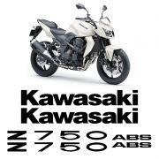 Kit Adesivos Kawasaki Z750 2010 Abs Emblemas Preto Completo