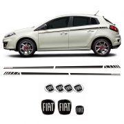Kit Black Faixa Bravo Sporting 2016 + Emblemas Completo Fiat
