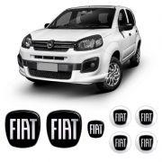 Kit Completo Emblemas Fiat Uno Novo Black Piano Resinado