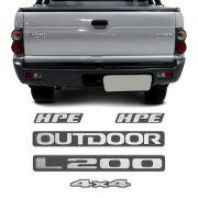 Kit Emblemas L200 Outdoor 4x4 Hpe 2007 Adesivo Grafite