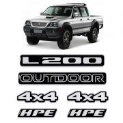 Kit Emblemas Mitsubishi L200 Outdoor 4x4 Hpe Resinado