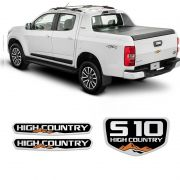 Kit Emblemas S10 High Country 2016/2019 Adesivos Resinados