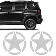 Kit Estrela Militar Para Coluna Jeep Renegade Adesivo Prata