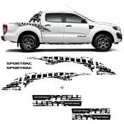 Kit Faixa Ford Ranger Sportrac 18 Preto + Soleira Black Over
