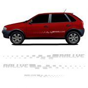 Kit Faixa Gol Rallye G4 Adesivo Prata Lateral + Traseiro