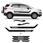 Kit Faixa Lateral Ecosport Freestyle + Soleira C/ Black Over