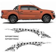 Kit Faixa Lateral Ford Ranger Sportrac 18 + Emblema Grafite