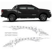 Kit Faixa Lateral Ford Ranger Sportrac 2018 + Emblema Prata