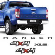 Kit Faixa Ranger 4x4 Xls Ford Ranger 13/16 Adesivos Grafite