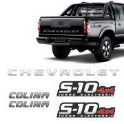 Kit Faixa S10 Chevrolet Prata 4x4 Turbo Eletronic + Colina