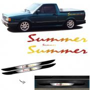 Kit Faixa Saveiro Summer Completo + Soleira Com Black Over