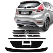 Kit Protetores Black New FIesta 15/18 Placa, Friso E Soleira