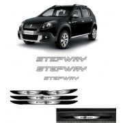 Kit Sandero Stepway Adesivos Prata 12 + Soleira Black Over