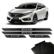 Kit Soleira Diamante Civic G10 2016/2018 Com Protetor De Porta