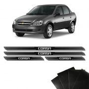 Kit Soleira Diamante Corsa Hatch Sedan Com Protetor De Porta