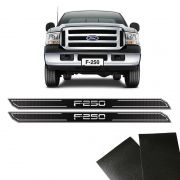 Kit Soleira Diamante F-250 2 Portas Com Protetor Black Over