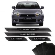 Kit Soleira Diamante Lancer 2012/2019 Com Protetor De Porta Black Over