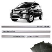 Kit Soleira Prata Fiat Idea Adventure Com Protetor De Porta