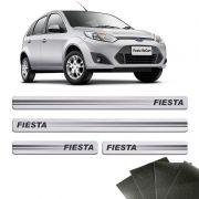 Kit Soleira Prata Fiesta 2003/2014 Com Protetor De Porta