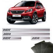 Kit Soleira Prata Peugeot 2008 2015/2020 E Protetor De Porta