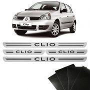 Kit Soleiras Da Porta Renault Clio Prata 8 Peças Protetoras