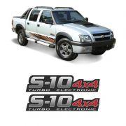 Par Adesivos S10 Rodeio 4x4 Turbo Eletronic Vermelho (Porta)
