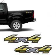 Par De Adesivos 4x4 Toyota Hilux Flex 2013 à 2015 Dourado