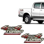 Par de Adesivos 4x4 Turbo Intercooler Hilux 2009 a 2012