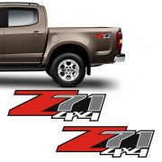 Par De Adesivos Chevrolet Z71 4x4 S10 Silverado D20 Lateral