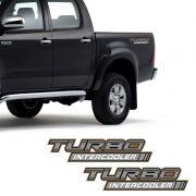 Par de Adesivos Hilux 2005/2008 Turbo Intercooler Dourado