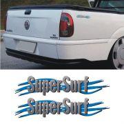 Par De Adesivos Super Surf Saveiro Parati Gol 2003/2008 Cinza