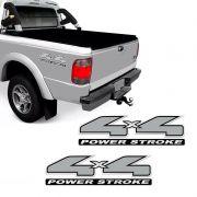 Par De Emblemas 4x4 Power Stroke Ford Ranger Adesivo Cromado
