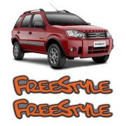 Par de Emblemas Adesivo Freestyle Ecosport Laranja Resinado