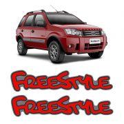 Par de Emblemas Adesivo Freestyle Ford Ecosport Vermelho