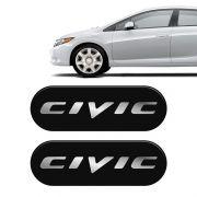 Par De Emblemas De Coluna Linha Civic Adesivo Resinado Preto