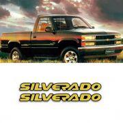 Par de Emblemas Silverado D20 00/ Adesivos Resinado