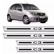 Soleira Proteção De Porta Citroen C3 2004/2012 Resinado Cromado