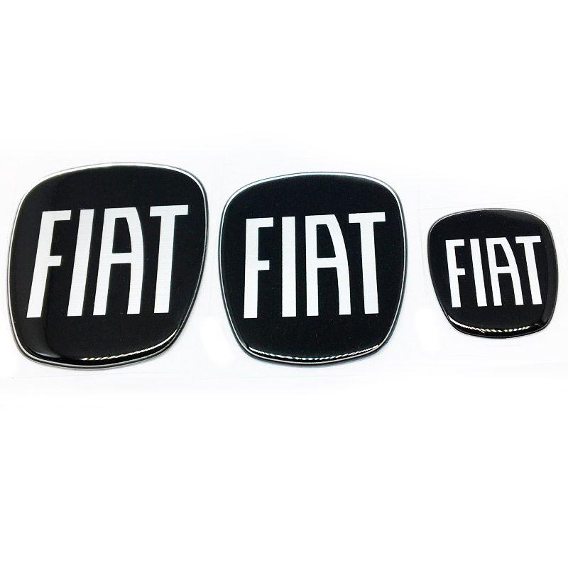 3 Adesivos Emblema Fiat 500 Preto Black