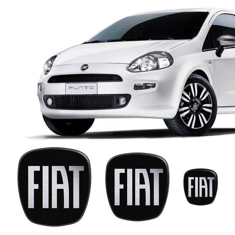 Kit 3 Adesivos Emblema Fiat Preto Black Punto 2008 a 2016